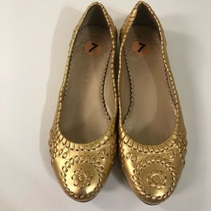 Jack Rogers Gold Leather Flats.